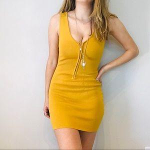 NWT LF Seek The Label mustard zip bodycon dress